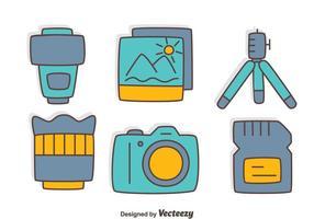 Vector de coleção de elemento de câmera desenhada à mão