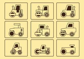Conjunto de ícones da linha do rolo da estrada vetor