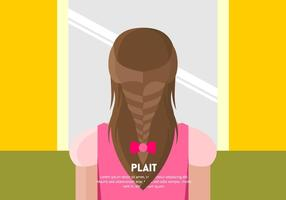 Girl with Plait Background Vector