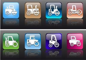 Estilo de aplicação de ícones Rolos de estrada e vetores de construção