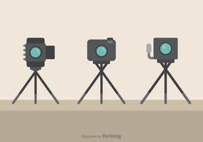 Câmeras em tripé Ícones planos de vetores