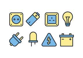 Pacote de ícones de acessórios elétricos vetor