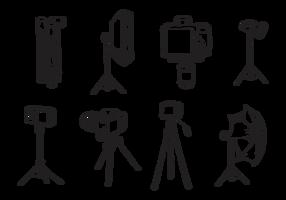 Vetores de tripé de câmera desenhados a mão grátis