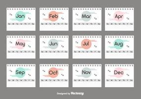 Conjunto do calendário da área de trabalho vetor