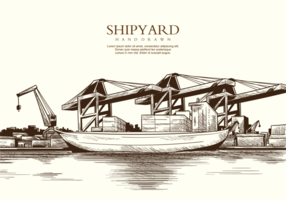 Livre mão desenhada Shipyard vetores