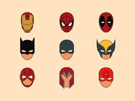 Símbolos de máscara de super-heróis vetor