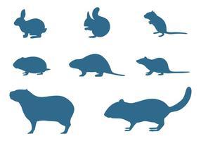 Coleção de silhuetas de roedores vetor