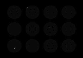 Vetor de ícones de rodas de liga leve