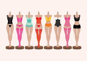 Lingerie e Bustiers em vetores manequins