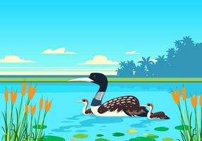 Vagão do vetor no lago