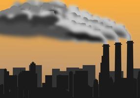 Silhueta de poluição de fábrica vetor