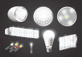 Vectores de luzes LED realistas