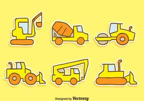 Vetores da máquina de construção desenhada à mão