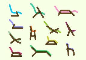 Vetores de cadeira de gramado simples