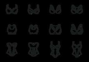 Vetor bustier ícones