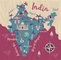 mapa da índia com símbolos indianos