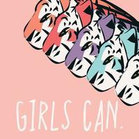 tigres desenhados à mão com frases feministas que as meninas podem