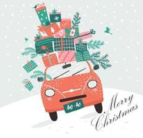 carro rosa, presentes de natal e árvore