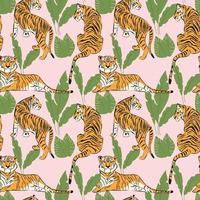 padrão sem emenda de tigre desenhado à mão