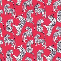 Mão desenhada tigre sem costura padrão em fundo vermelho