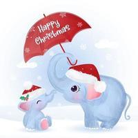 cartão de Natal com uma linda mamãe e um bebê elefante