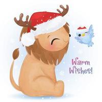 cartão de natal com leão fofo