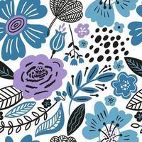 padrão floral sem costura com cores de inverno