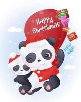 cartão de Natal com a linda mamãe e o bebê panda