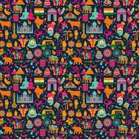 símbolos tradicionais da Índia, padrão uniforme no escuro