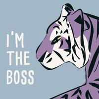 tigre desenhado à mão com frase e mensagem feministas
