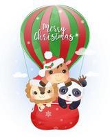 cartão de natal com animais fofos voando