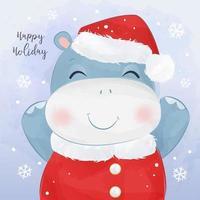 cartão de natal com um lindo bebê hipopótamo