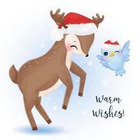 cartão de natal com rena fofa