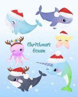 criaturas do oceano fofas para decoração de elementos de natal