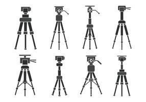 Ícones de vetor de tripé de câmera