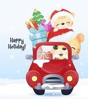 cartão de natal com animais fofos