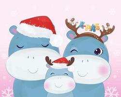 cartão de natal com adorável família de hipopótamos