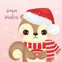 cartão de natal com esquilo adorável