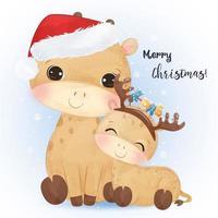 cartão de Natal com a linda mamãe e girafa bebê