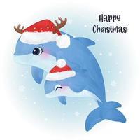 cartão de Natal com uma linda mamãe e um golfinho bebê
