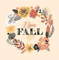 cartão de outono com coroa de flores, flores e folhas vetor