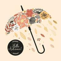 cartão de outono com guarda-chuva e flores vetor
