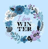 cartão de inverno com uma coroa de flores e flores vetor