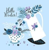 cartão de ano novo com chaleira, xícara e flores