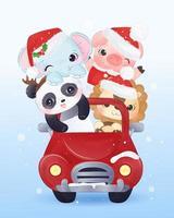 animais cartão de natal andando em um carro