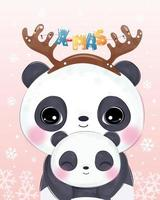 ilustração de natal com a linda mamãe e o bebê panda