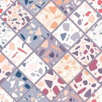 design de padrão sem emenda de terrazzo com pedras de mão desenhada.
