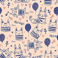 gatos bonitos doodle padrão sem emenda. vetor