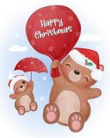 cartão de natal com ursinhos fofos