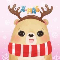 cartão de natal com urso fofo